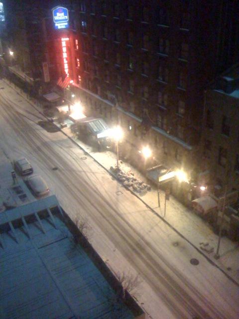 It's snowing in Manhattan
